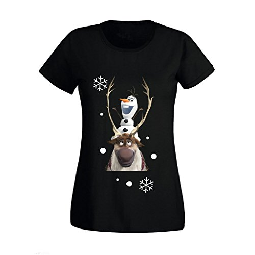 11 Womens T-shirt (Women's Ladies Frozen Olaf And Sven Movie Character Christmas Xmas High Quality Printed T Shirts UK Size 8-16 (XX-Large) Black)