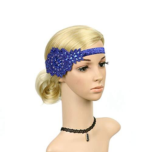 Frcolor Retro Kristall Stirnband Flapper Stirnband Strass Kopfschmuck Braut Haarband für Hochzeit (Royal Blue)
