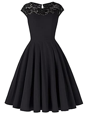 Damen Kleider Sommerkleid Knielang Partykleid Hepburn Stil S