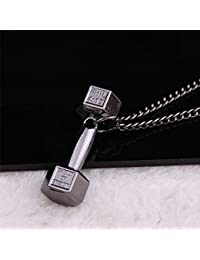 SELUXU Barbell Mancuerna Peso Colgante Collar Regalo para Hombres Mujeres Pareja Collar de cadena