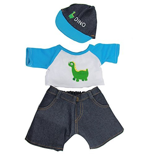 dinosaur-t-shirt-jeans-cap-3-piece-outfit-bear-clothes-fits-15-16-inch-40cm-teddies-build-a-bear