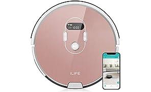 ILIFE A7 automatischer Saugroboter mit App Steuerung, WLAN, mit Ladestation, ideal für Tierhaare und Laminat, Parkett, Fliesen, Leise, Timer, Beutellos, 600ml Staubtank, LCD Display, Roségold