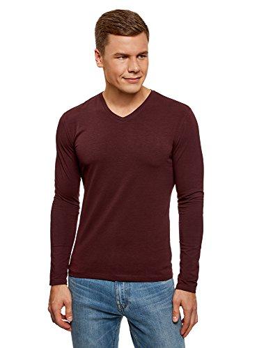 Oodji ultra uomo t-shirt a maniche lunghe con scollo a v senza etichetta, rosso, it 48 / eu 50 / m