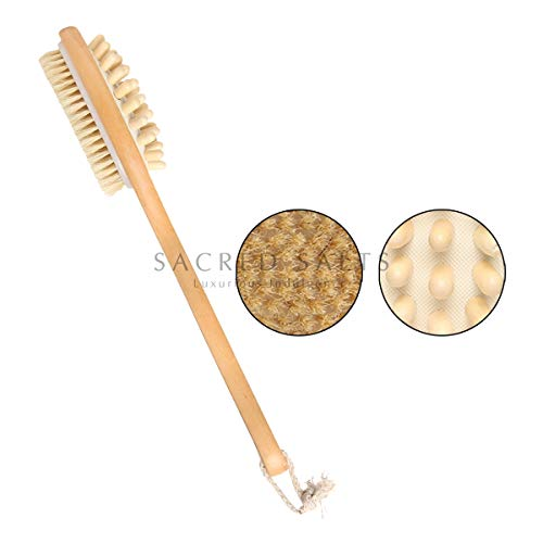 Sacred Salts Wooden Double Sided Body Brush with Massager and Long Handle | Natural Boar Bristles | Dry Brushing Removes Dead Skin, Treats Cellulite & Stimulates Blood Flow