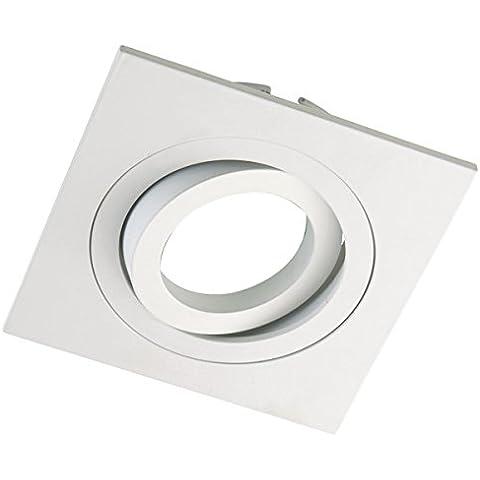 Wonderlamp Classic W-E000004 - Foco empotrable cuadrado, incluye portalámparas GU10, ángulo basculación 30º, 9 x 9 x 2,5 cm, color blanco