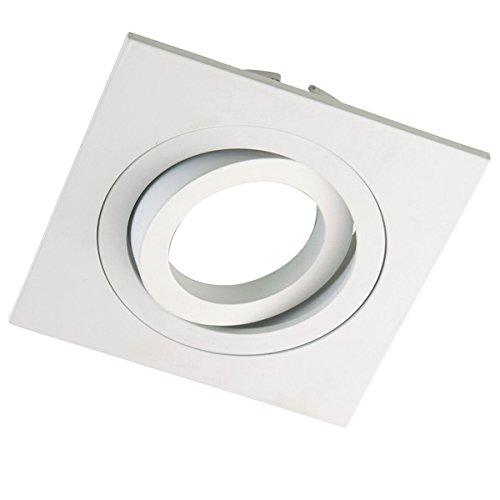 Wonderlamp Classic W-E000004 - Foco empotrable cuadrado para techo, incluye portalámparas GU10. Ojo de buey basculante 30º. 9 x 9 x 2,5 cm, color blanco.