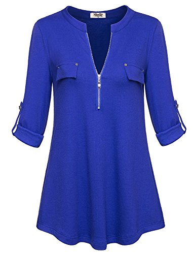 Hibelle Tunika Blau, Tops & Tees für Frauen Fashion Solid Color Langarm Arbeitsblusen Zip up Leger Bluse mit Knöpfen Tunika Top Blau XX-Groß (XX-Large) XXL