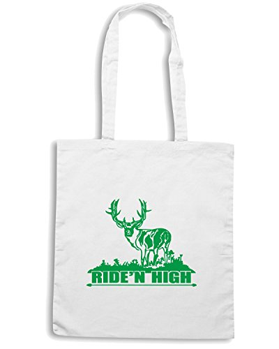 T-Shirtshock - Borsa Shopping FUN1172 deer hunting decal sticker 04 54896 Bianco