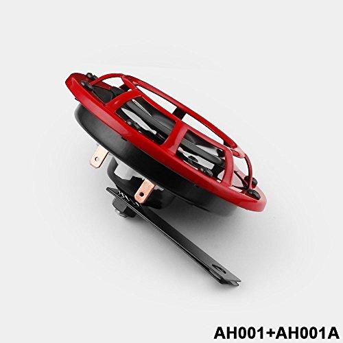 BEESCLOVER 2 x kompakte, elektrische Laute Strahlung 12 V rote Halterung Super Tone Horn Kit ohne Relais -