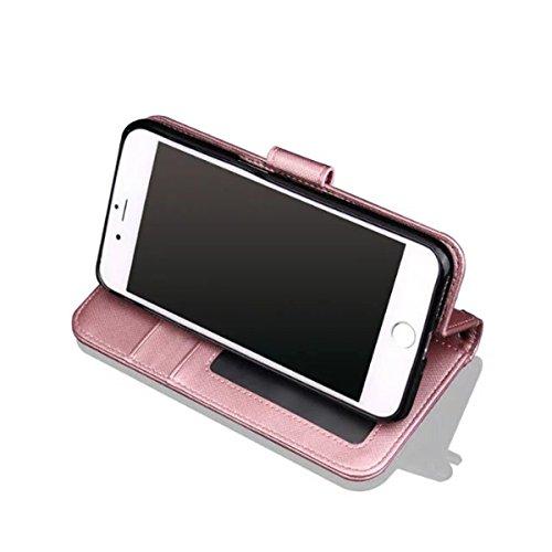 iPhone 7 Coque, Apple iPhone 7 Coque, Lifeturt [ Rose ] [book-style] Flip Case Coque en PU Cuir Housse de Protection Étui à rabat Case Cover Ultra Slim Portefeuille PU Cuir avec stand de Carte Slots S E02-Rose4514