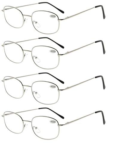 Eyekepper Metal Frame Spring Hinged Arms Reading Glasses Pack of 4 Pairs +1.5