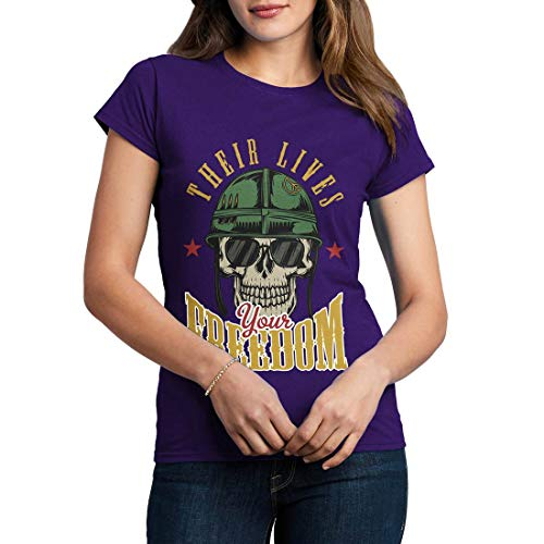 C899WCNTP Damen T-Shirt Your Freedom Army Fighter Air Force Classic Jet Plane Aircraft US Military Base Vintage(Large,Purple) -