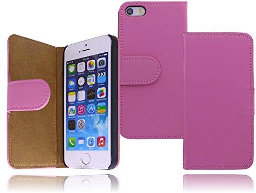 Premium Book Case Handy-Tasche für das Apple iPhone SE / 5 / 5S Flip Cover Case Schutz-Hülle mit Kartenfächer in weiß Rosa / pink