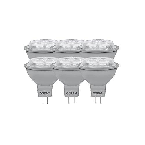 Osram, Faretto LED dimmerabile Superstar MR16 35 Advanced, 5.9W (equivalenti a 35W), Attacco Gu5,3, Luce Extra Calda (827), 50 mm, 12 Volt, Angolo di Diffusione 36°, 882349, 6 pz.
