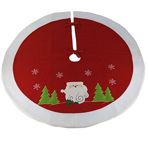 Wewill werden Marke Luxus dicken Weihnachtsbaum Rock Urlaub Dekoration mit Santa Design, 35-Zoll / 90cm Durchmesser, rot (Style 2)