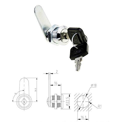 uooom Cam Lock Datei Schrank Schloss für Mailbox Schublade Schrank mit Schlüssel, T 16mm -