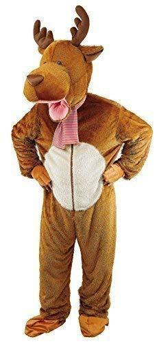 Rentier Kostüm Herren - Fancy Me Erwachsene Herren Damen Deluxe Rentier Maskottchen Weihnachten Tier Kostüm Kleid Outfit