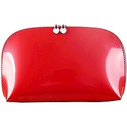 Frcolor Damen Kosmtiktasche Wasserdichte PU Leder Make Up Tasche Tragbare Kulturtasche für Reise Outdoor Camping (rot)