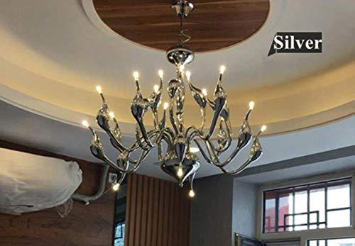 12/18/24 Heads Art Deco European Candle Metall LED Swan Kronleuchter Decken Schlafzimmer Wohnzimmer Moderne Dekoration G4 Beleuchtung, Silber, 18 Köpfe # 616 -