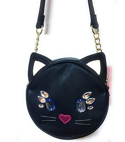 LUV Betsey Cross Body Jeweled Cat Face Handbag, Black