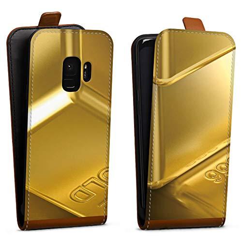 DeinDesign Tasche Hülle Flip Case kompatibel mit Samsung Galaxy S9 Goldbarren Gold Barren