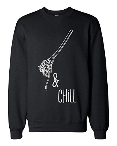 Finest Prints Spaghetti and Chill Fork with Spaghetti Unisex Sweatshirt Small Junk-food-print-pullover