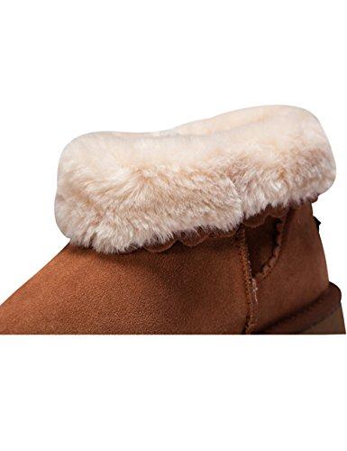 Youlee Femmes Hiver Bord de dentelle Antidérapant Bottes de neige Chaudes dames cheville bottes Kaki profond