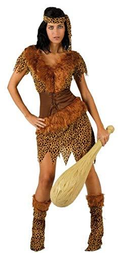Halloween Cavewoman Kostüm - Fancy Me Damen Sexy 4-teiliges Cavegirl Cavewoman Caveman Karneval Halloween Kostüm Outfit UK 8-18