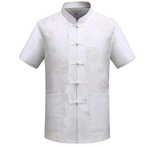 KINDOYO Männer Short - Sleeved Baumwolle und Leinen Kung Fu Uniform Tai Chi Shirt Tang Anzug Kung Fu Shirt Hose