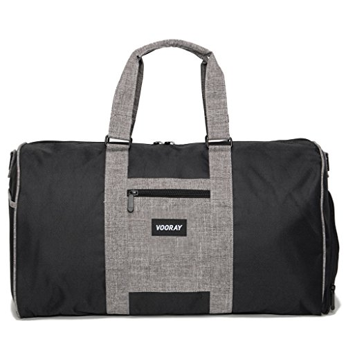 vooray-trepic-43l-weekender-duffle-bag-with-shoe-pocket-and-laundry-bag-black-heather-gray