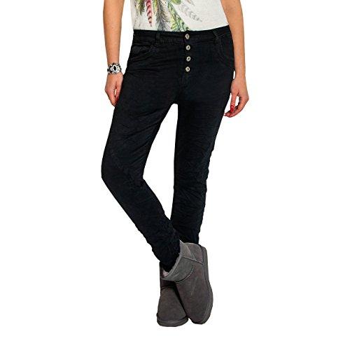 SKUTARI Damen große Größen Boyfriend-Jeans Reißverschluss Knopfleiste (XL/42, Schwarz4)