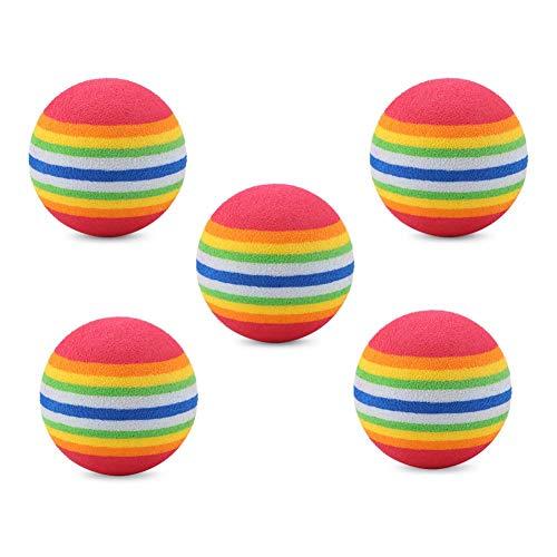 Semme Cat Rainbow Balls Spielzeug, Wiederverwendbare Bunte weiche Golfball interaktive Spielzeug für Hund und Katze