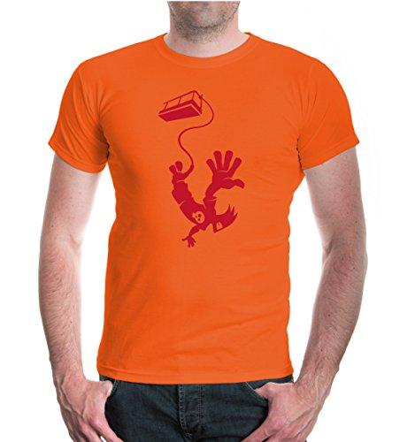 buXsbaum® T-Shirt Bungeejumping Comicfigur Orange-Bordeaux