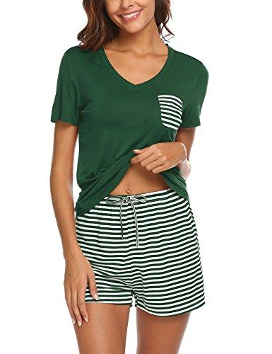 UNibelle Damen Schlafanzug Pyjama Shorty Mit Shorts & Shirt Sommerlicher Nachthemd mit Taschen Nachtwäsche Kurzarm Sleepwear, Dunkelgrau, XL