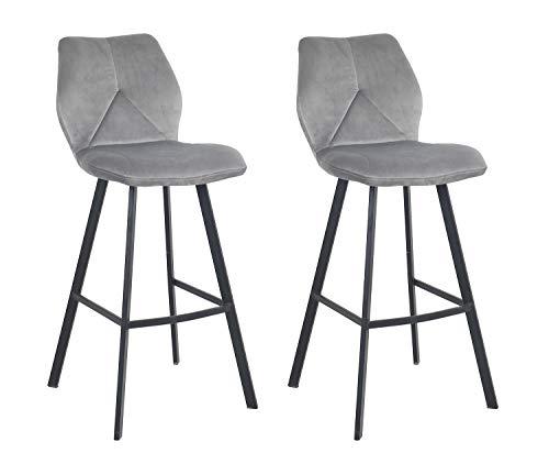 Meubletmoi Tabouret de Bar Velours Gris - piétement Repose-Pied métal Noir - Chaise Haute Design Industriel Chic & Confortable - Lot DE 2 - DIAM