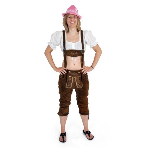 Lederhose Damen, Dreiviertelhose, stilechte Trachtenhose aus reinem Leder mit Stickerei, braun - 44