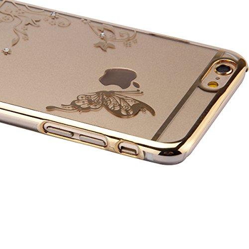 Etsue pour Apple iPhone 6 Plus/6S Plus Coque,Slim-Fit Smart Gillter Armure PC Case Etui pour Apple iPhone 6 Plus/6S Plus,Mode Mignonne Dur Plastique Coque Protection Bumper Shell pour Apple iPhone 6 P Papillon Dorée