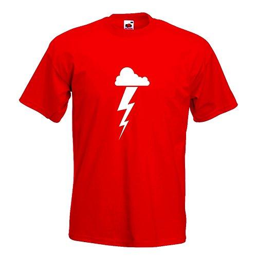 KIWISTAR - Gewitterwolke Blitz T-Shirt in 15 verschiedenen Farben - Herren Funshirt bedruckt Design Sprüche Spruch Motive Oberteil Baumwolle Print Größe S M L XL XXL Rot