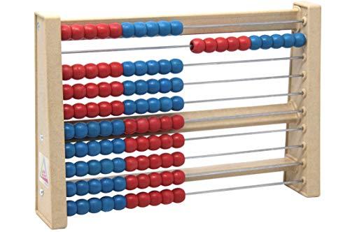WISSNER® aktiv lernen - 100 er Rechenrahmen rot/blau - RE-Wood®
