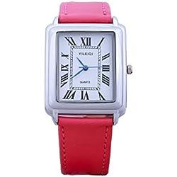 Yileiqi Unisex Men's Women's Silver Bezel White Face Rectangle Dial Hot Pink PU Leather Strap Watch Analog Quartz Hook Buckle Clasp Extra Battery