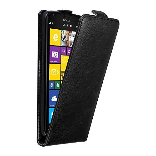 Cadorabo Hülle für Nokia Lumia 1520 in Nacht SCHWARZ - Handyhülle im Flip Design mit Magnetverschluss - Case Cover Schutzhülle Etui Tasche Book Klapp Style