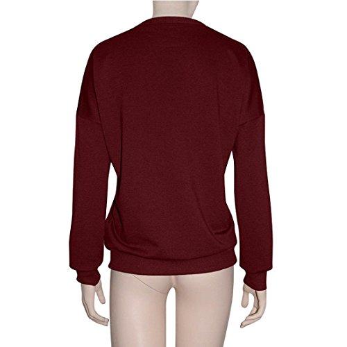 Tonsee® Femmes Blouse à Manches Longues Lettre Overs Print Sweatshirt Vin rouge