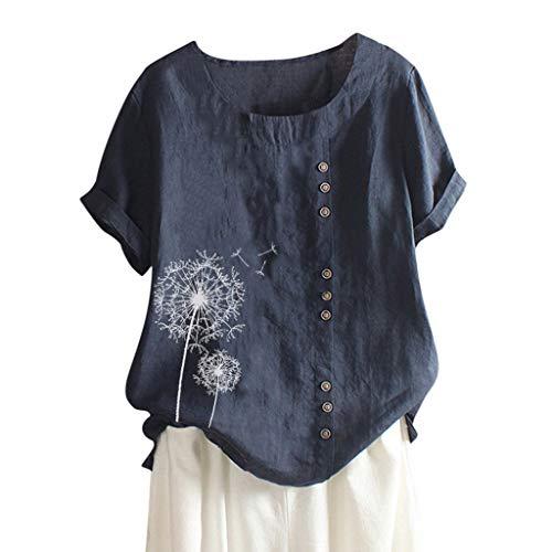 Lazzboy Lose Knopf Plusgrößen Druck Boho Tanic Hemd Blusen Oberseiten Frauen Damen Sommer Große Größen Plus Size Solide Print Tägliche Bluse Strand Shirt Tops Kurzarm(Marine,XL)