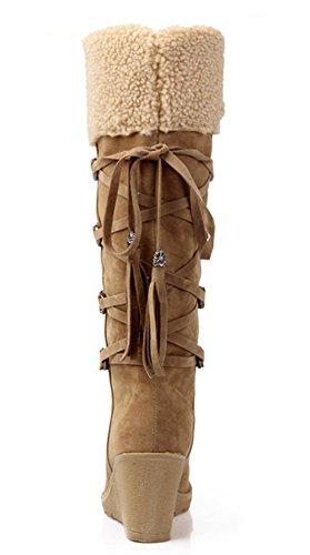 Botte Compensée Femme Hiver Fourrure Chaudes Suédine Frange Bottes de Neige Grande Taille 40 41 42 43 Jaune