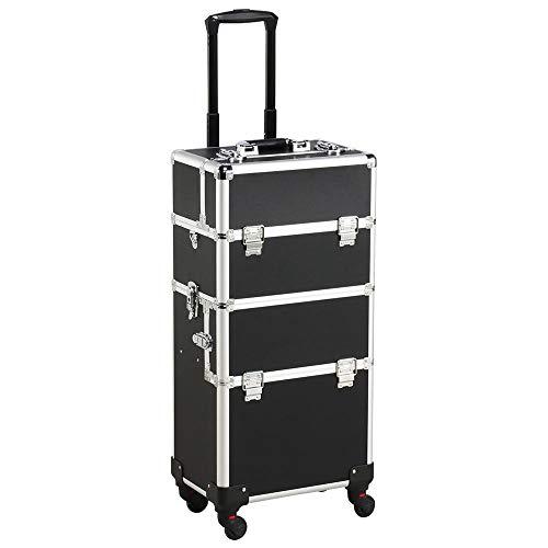 Yaheetech Alu Trolley make up Kosmetikkoffer Nail Art Koffer Box Schmuckständer Nagellack Gegenstände mit 4 stabile 360° Universalrollen& 4 Schlüsseln, 3 in 1 Schwarz -