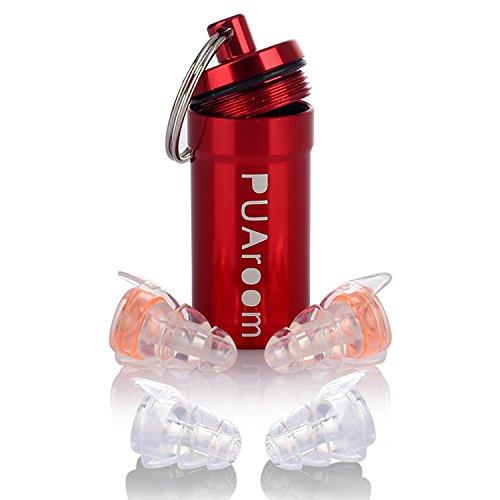 PUAroom Tapones de Oído para Dormir, Tapones de Orejas de Silicona Reutilizables con Contenedor de Aluminio Libre, Ideal para Músicos, Concierto, Festival, Batería, Motocicletas (2 pares, Naranja)