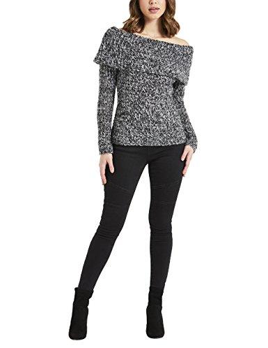 Lipsy Damen Lurex-Pullover mit Bardot-Ausschnitt Grau 40 (Seide Rollkragen Jersey)