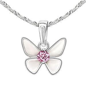 CLEVER SCHMUCK Set Silberner Kleiner Kinder Anhänger Mini Schmetterling 8 x 10 mm Flügel weiß lackiert mit rosa Zirkonia mittig & Kette Singapur 40 cm Sterling Silber 925