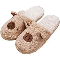 BESTOYARD Cochon Pantoufles d'hiver en Peluche Antidérapantes Maison Chaussures Pantoufles Extérieur Intérieur Taille 42-43 (Café)