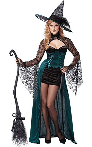 e Hexe Damenkostüm Halloween schwarz-grün ()